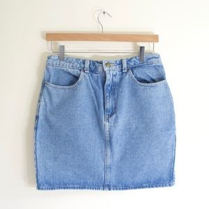 American Apparel light wash denim Mini skirt